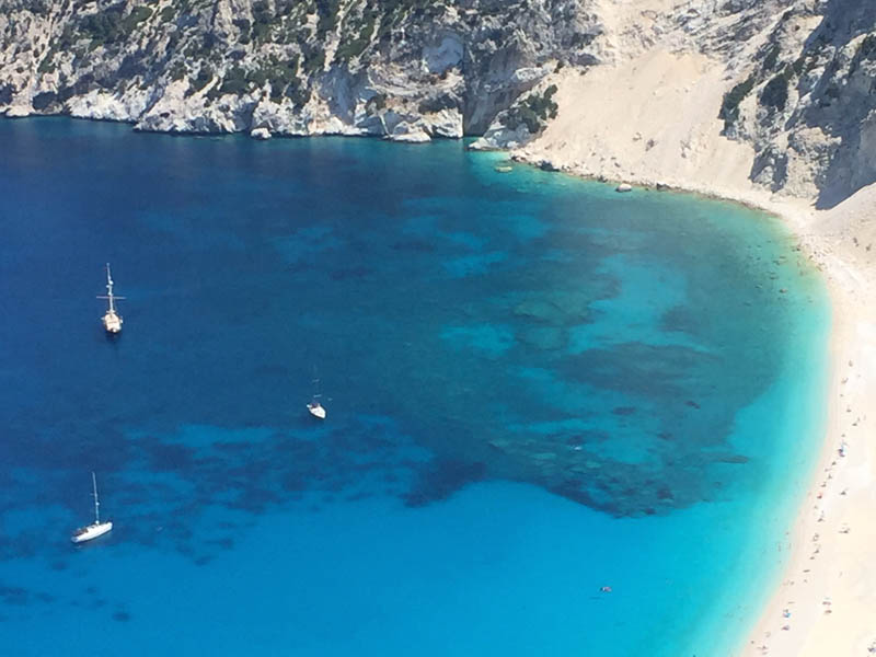 The Colour of Travel - the blue coves of Kefalonia Myrtos Beach