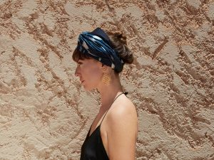 Zoe Williams from Zoe and Morgan wearing her Bird and Knoll headscarf