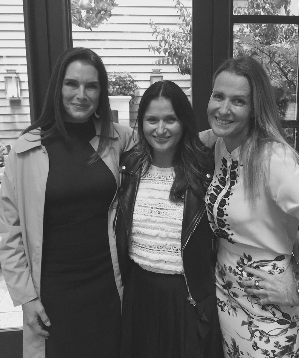 Natalie Knoll from Bird and Knoll with Brooke Shields and India Hicks at the launch of India Hicks Curated Collections in New York